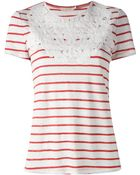 Tory Burch Striped Top - Lyst