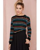 Nasty Gal Critical Digital Waffle-Knit Sweater - Lyst