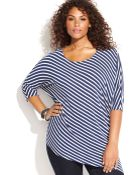 Inc International Concepts Plus Size Dolmansleeve Striped Asymmetrical Top - Lyst
