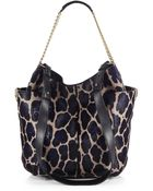Jimmy Choo Anna Leopard-Print Calf Hair Shoulder Bag - Lyst