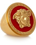 Versace Gold-Tone And Enamel Ring - Lyst
