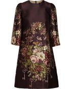 Dolce & Gabbana Printed Silk And Wool-Blend Mini Dress - Lyst