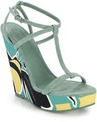 Burberry Prorsum Tindalson Printed Canvas-Wedge Suede Sandals - Lyst