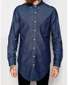 Asos Denim Shirt In Longline With Rinse Wash - Lyst