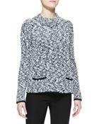 Armani Collezioni Snap-Front Boucle Knit Jacket - Lyst