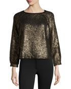 Alice + Olivia Metallic Raglan-Sleeve Top - Lyst