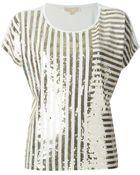 MICHAEL Michael Kors Striped Sequin Top - Lyst