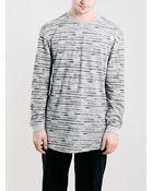 Topman Grey Textured Stripe Oversized Long Sleeve T-Shirt - Lyst