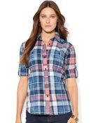 Lauren by Ralph Lauren Tabsleeve Plaid Shirt - Lyst