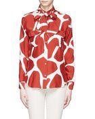 Stella Jean 'Scimmia' Giraffe Print Tie Neck Silk Blouse - Lyst