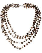 Kenneth Cole New York Silver-Tone Shell Chip Bead Multi-Row Necklace - Lyst