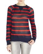 Cardigan Open Knit Stripe Sweater - Lyst