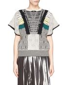 Toga Archives Faux Leather Ribbon Jacquard Knit Top - Lyst