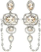 Oscar de la Renta Pave Frame Crystal Clip-On Earrings - Lyst