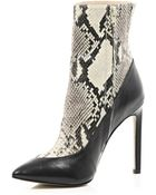 River Island Grey 5 Inch & Up Snake Print Boots - Lyst
