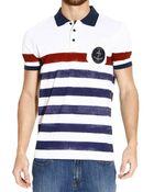 Frankie Morello Striped Piquet Half Sleeve Printed Polo T-Shirt - Lyst