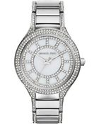 Michael Kors Mid-Size Silver Color Stainless Steel Kerry Three-Hand Glitz Watch - Lyst
