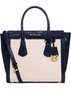 Michael Kors Colette Large Embossed-Leather And Canvas Satchel - Lyst