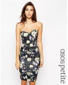 Asos Exclusive Floral Bandeau Midi Dress - Lyst