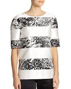 St. John Silk & Cotton Striped Top - Lyst