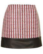 Topshop Textured Leather Hem Mini Skirt By Unique - Lyst