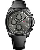 Tommy Hilfiger Men'S Black Leather Strap Watch 44Mm 1791078 - Lyst