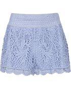 Topshop Crochet Shorts - Lyst