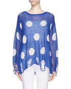 Wildfox Polka Dot Distressed Sweater - Lyst