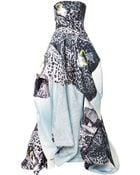 Monique Lhuillier Orchid Print Silk Faille Strapless Ball Gown - Lyst
