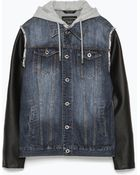 Zara Jacket With Faux Leather Sleeves - Lyst