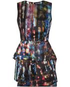 McQ by Alexander McQueen Digital Print Satin Peplum Dress - Lyst