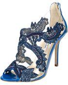 Oscar de la Renta Cobalt Embroidered Ambria Sandals - Lyst