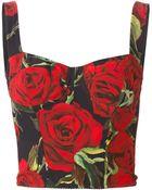 Dolce & Gabbana Rose Print Bustier Top - Lyst