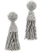 Oscar de la Renta Short Tassel Earrings - Silver - Lyst