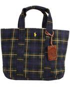 Polo Ralph Lauren Handbag Tote Medium Washed Canvas Tartan Print - Lyst