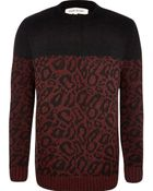 River Island Red Leopard Print Two-Tone Sweater - Lyst