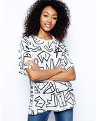 Asos Oversized Tshirt in Sketchy Print - Lyst