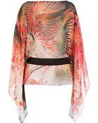 Roberto Cavalli Silk Chiffon Printed Top - Lyst