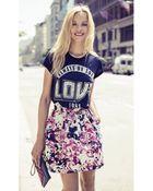 Express Floral Plaid High Waist Full Skirt - Lyst