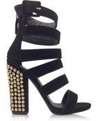 Giuseppe Zanotti Black Suede Sandal W/Studded Heel - Lyst