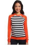 MICHAEL Michael Kors Long Sleeve Grommet Stripe Sweater - Lyst
