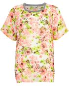 River Island Floral Embellished Chiffon T-Shirt - Lyst