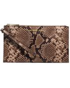 Michael Kors Bedford Large Embossed-Leather Clutch - Lyst