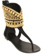 Giuseppe Zanotti 10Mm Embellished Suede Cage Sandals - Lyst