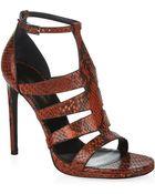 Saint Laurent Snake Print Heel Sandals - Lyst