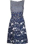 Oscar de la Renta Multi Patterned Dress - Lyst