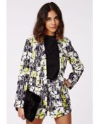 Missguided Gretchan Leaf Print Check Tailored Blazer Grey - Lyst