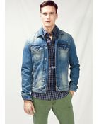 Mango Man Vintage Wash Denim Jacket - Lyst