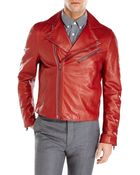 Acne Studios Red Gibson Leather Jacket - Lyst