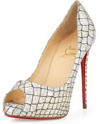 Christian Louboutin New Very Prive Metallic Snake-Embossed Red Sole Pump - Lyst